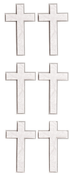 Sechs silberne Kreuz-Sticker