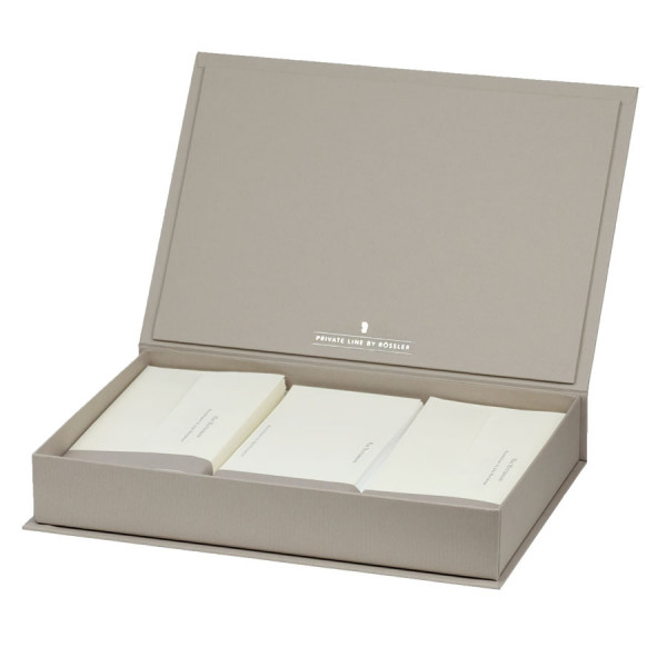 Briefpapierkassette personalisiert, Creme Inhalt, Taupe