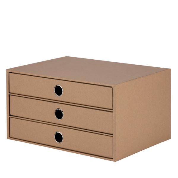 3er Schubladenbox für A4, Kraft