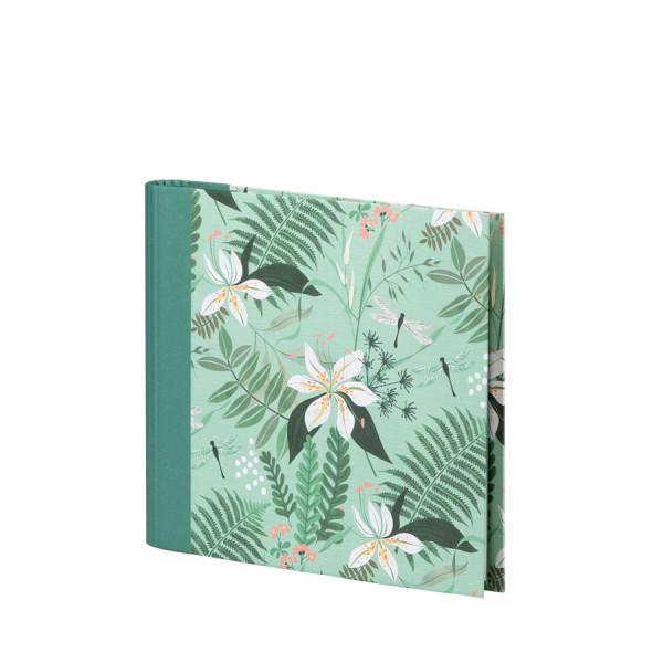 Grünes Gäste- und Fotoalbum mit Tropen-Muster und weißen Blüten