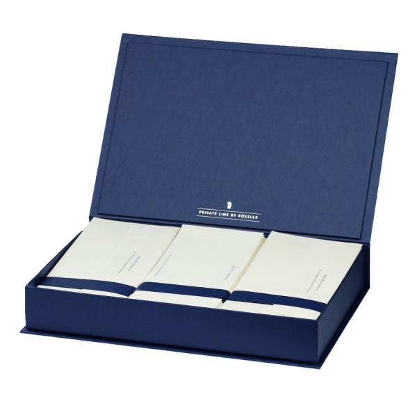 Briefpapierkassette personalisiert, Creme Inhalt, Blau