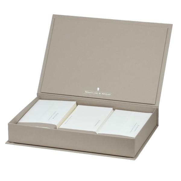 Briefpapierkassette personalisiert, Weißer Inhalt, Taupe