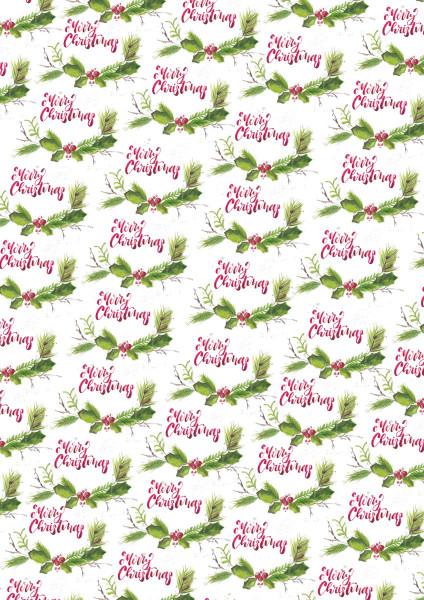 3er Pack Kreativpapiere beidseitig, Merry Christmas