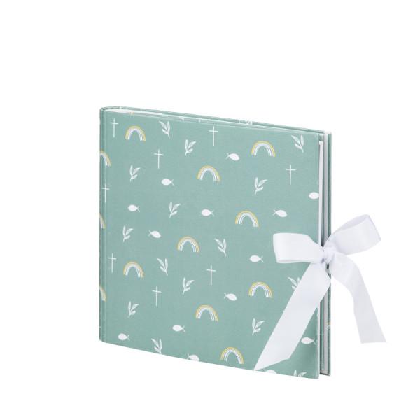 Foto- & Gästebuch in Mint mit Regenbogen und Kreuz-Applikation mit verdeckter Spirale und einer weißen Schleife