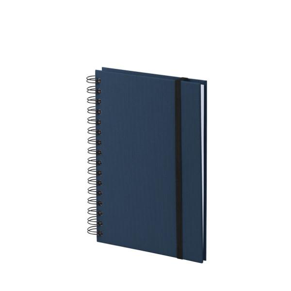 Notizbuch A5 mit Gummizug, Navy-Blau
