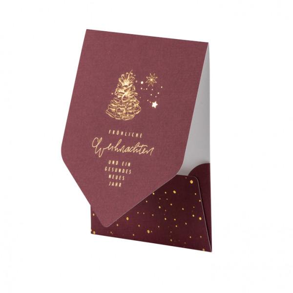 Weihnachtskarte, Tannenzapfen, Rot