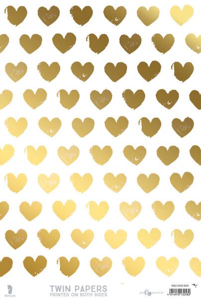 3er Pack Kreativpapiere zweiseitig, Herzen