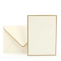 Karten-Set A6, Creme, Gold gerändert