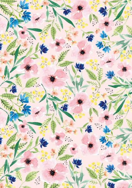 3er Pack Kreativpapiere zweiseitig Blumen