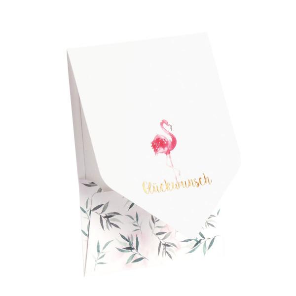 Pocketfold-Karte, Glückwunsch, Flamingo