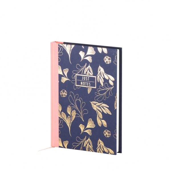 Notizbuch A5, goldene Blumen