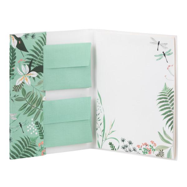 Grüne Briefpapiermappe mit Tropen-Muster und weißen Blüten