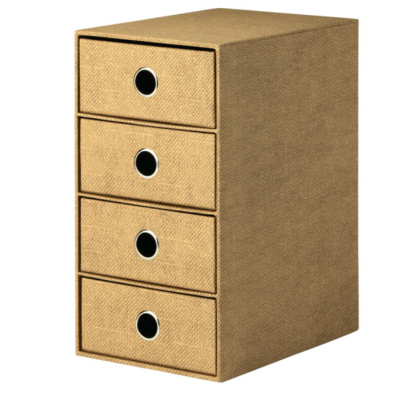 4er Schubladenbox für A5, Haselnuss/Braun