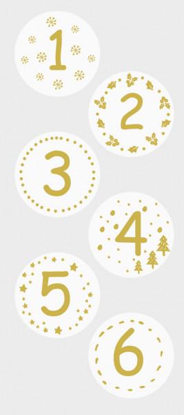 Sticker, Adventskalender, Weiß- Gold