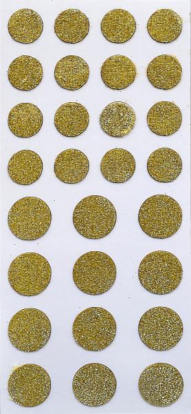 Sticker, Glitter Punkt, Gold