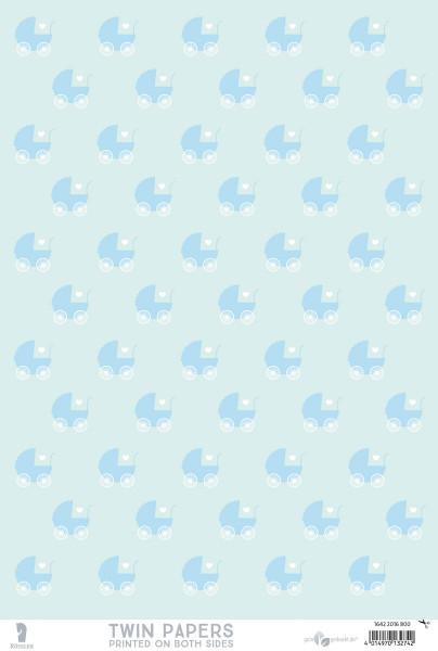3er Pack Kreativpapiere zweiseitig, Hello Baby, Blau