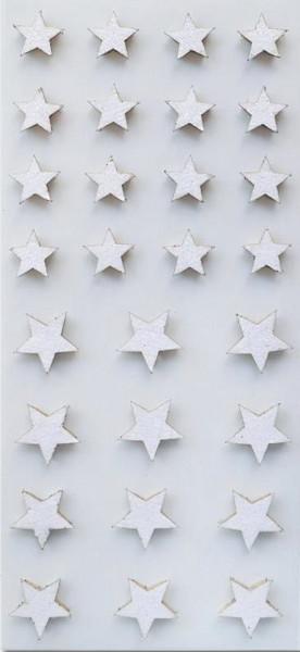 Sticker, Weihnachten, Sterne Glitzer Weiß