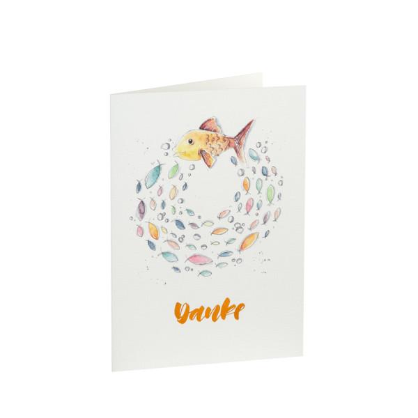 Danksagungskarte mit buntem Fischwarm und goldener Heißfolienprägung