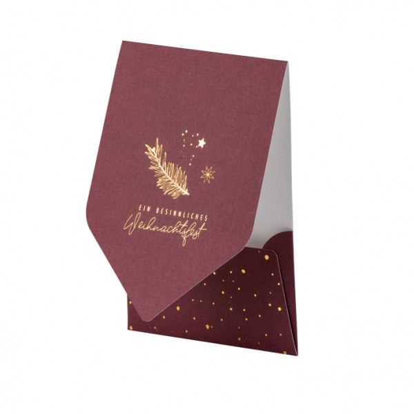 Weihnachtskarte, Zweig, Rot