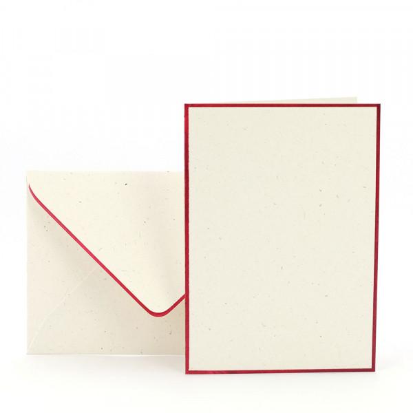 Karten-Set A6, Creme, Rot gerändert