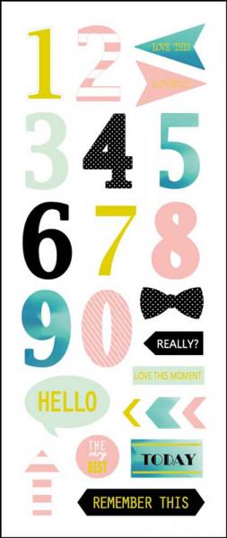 Sticker, Zahlen, Pastell