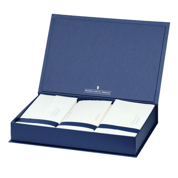 Briefpapierkassette personalisiert, Bütten, Blau