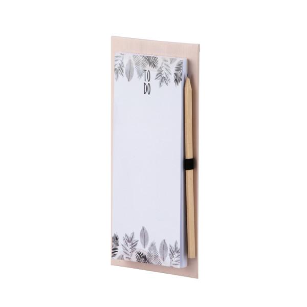 To-do-Liste mit Bleistift und Magnet, Tropenblätter