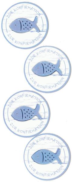 Sticker, Fisch Konfirmation, Blau