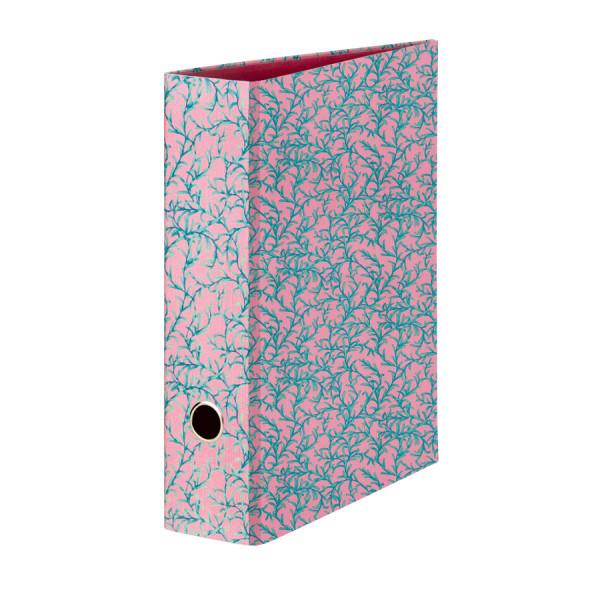 Pinker A4 Ordner mit einer grün-türkisen Blumenranke