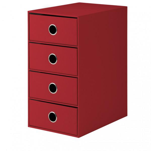 4er Schubladenbox, Rot