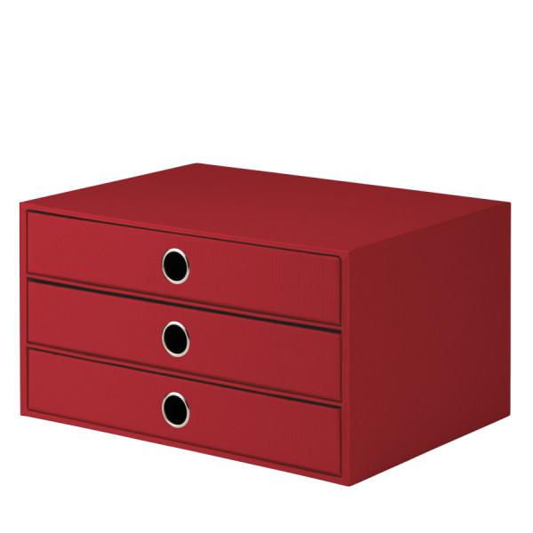 3er Schubladenbox für A4, Rot