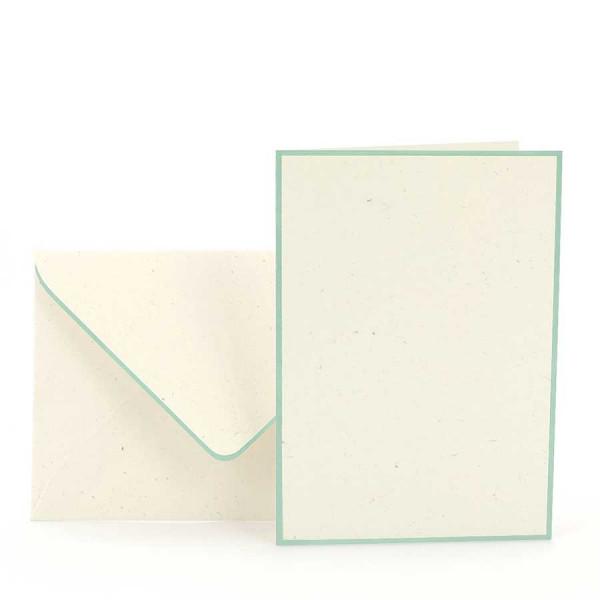 Karten-Set A6, Creme, Mint gerändert