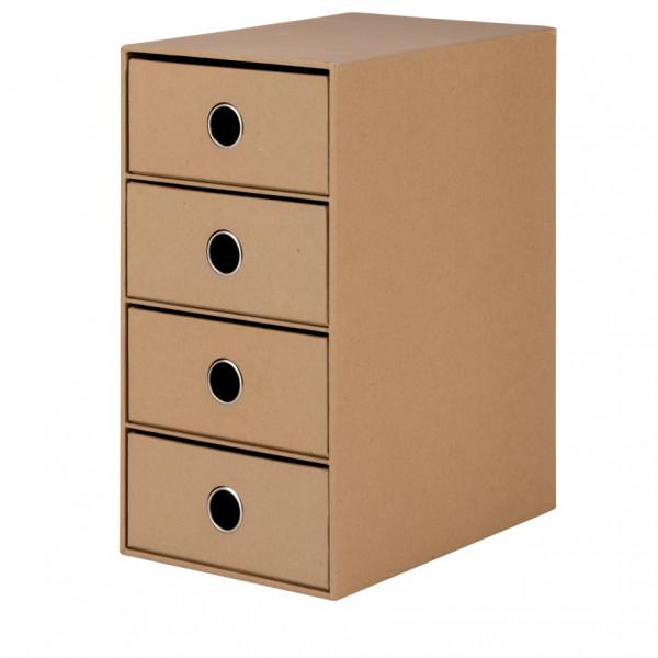4er Schubladenbox für A5, Kraft