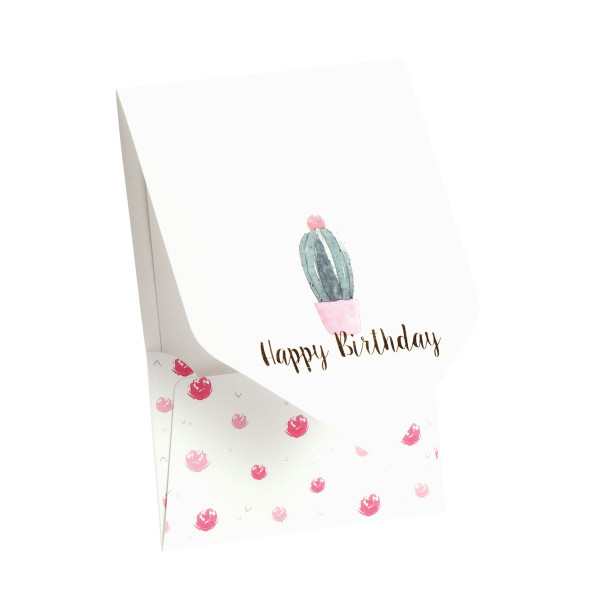 Pocketfold-Karte, Happy Birthday, Kaktus