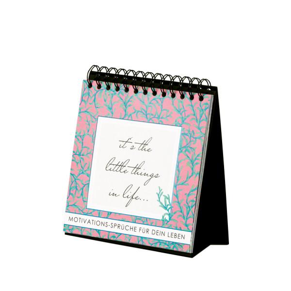 Tischaufsteller mit 12 Motivations-Sprüchen, 175x175mm, Pink mit grün-türkiser Blumenranke