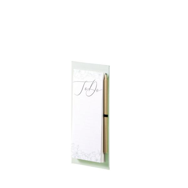 To-do-Liste mit Bleistift und Magnet, Feine Blüten, Grün