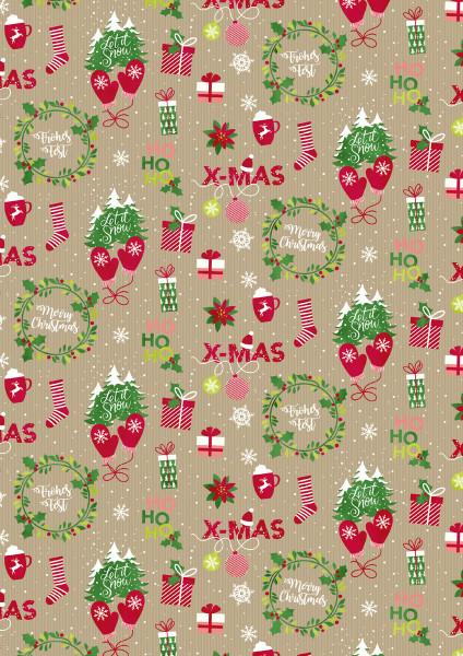 3er Pack Kreativpapiere beidseitig, Weihnachten