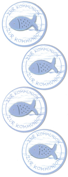 Sticker, Fisch Kommunion, Blau
