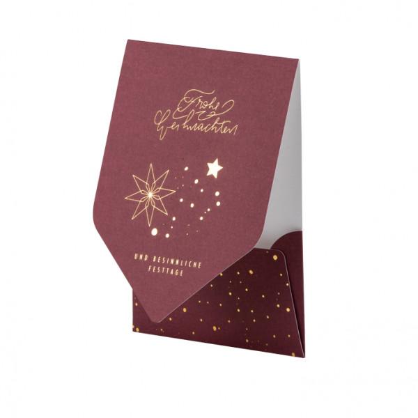 Weihnachtskarte, Sterne, Rot