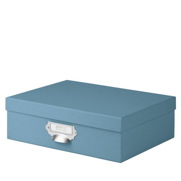 Aufbewahrungsbox mit Griff für A4, Denim/Blau