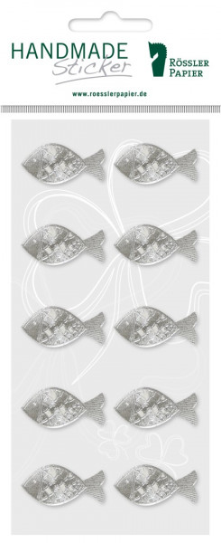 Zehn silberne Fisch-Sticker mit Prägung