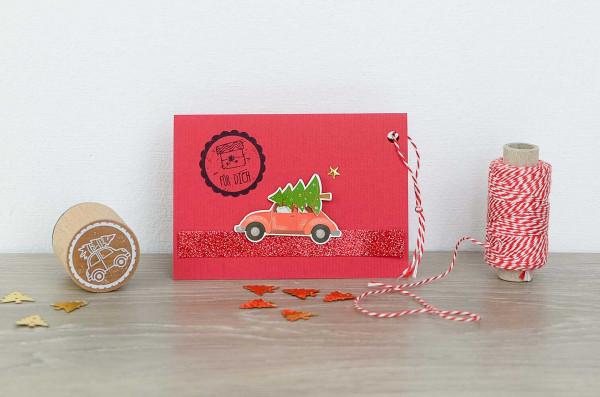 Weihnachten-Mini-Karte-Auto