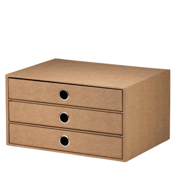 3er Schubladenbox für A4, Haselnuss/Braun