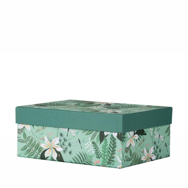 Grüne Box mit Stülpdeckel, mit Tropen-Muster und weißen Blüten