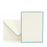 Karten-Set A6, Creme, Denim gerändert