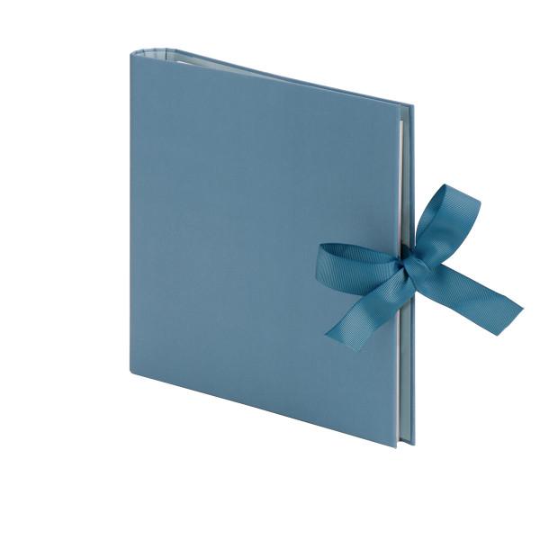 Fotoalbum nachfüllbar mit Schleife, Denim/Blau