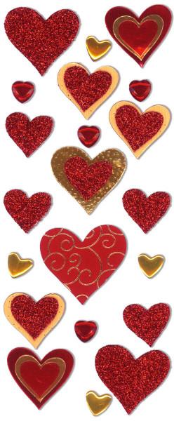 Sticker, Herzen, Rot-Gold