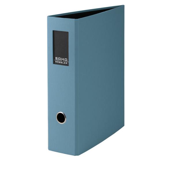 Hochwertiger SOHO A4 Ordner in Denim/Blau mit Rückenschild