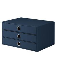 3er Schubladenbox für A4, Navy/Blau