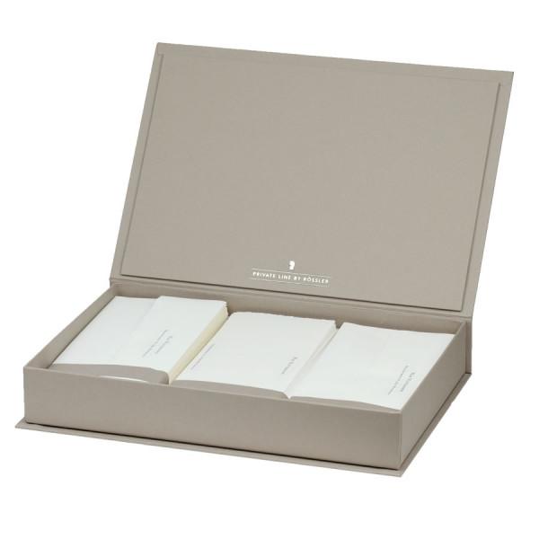 Briefpapierkassette personalisiert, Bütten, Taupe